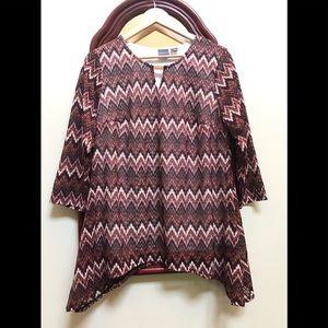 Covington women's top Multicolor zigzag pattern XL